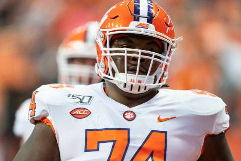 Clemson Tigers Offensive Lineman John Simpson (74) prior to the game between the Clemson Tigers ...