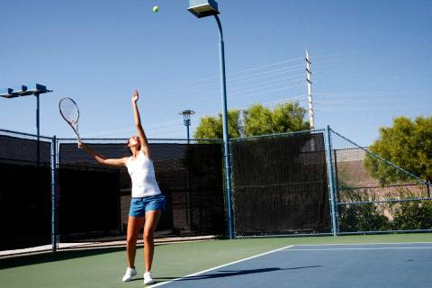 Samantha Crawford, 17, practices before the Party Rock Open tennis tournament at the Darling Te ...