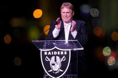Raiders Owner Mark Davis during the Raiders stadium groundbreaking ceremony in Las Vegas, Monda ...