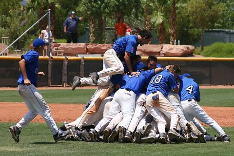 Members of the Bishop Gorman State Championship Baseball team celebrate their victory-May 19, ...