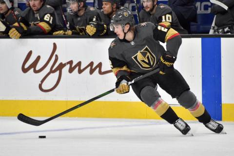 Vegas Golden Knights defenseman Zach Whitecloud (2) skates against the Carolina Hurricanes duri ...