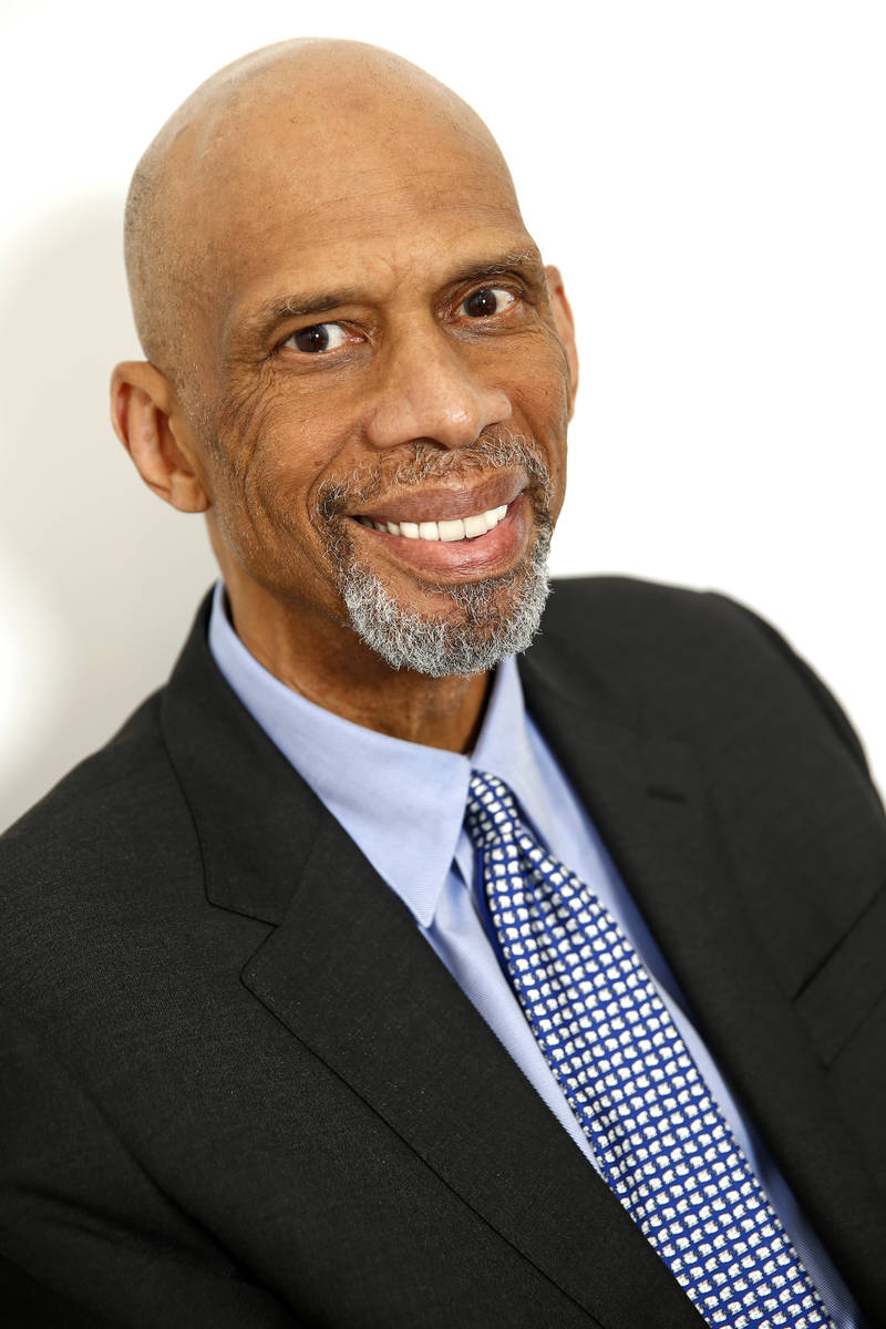 Retired NBA basketball player and author Kareem Abdul-Jabbar poses for a portrait on Monday, Ma ...