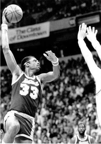 Los Angeles Lakers center Kareem Abdul-Jabbar shoots a sky hook in a game against the Utah Jazz ...