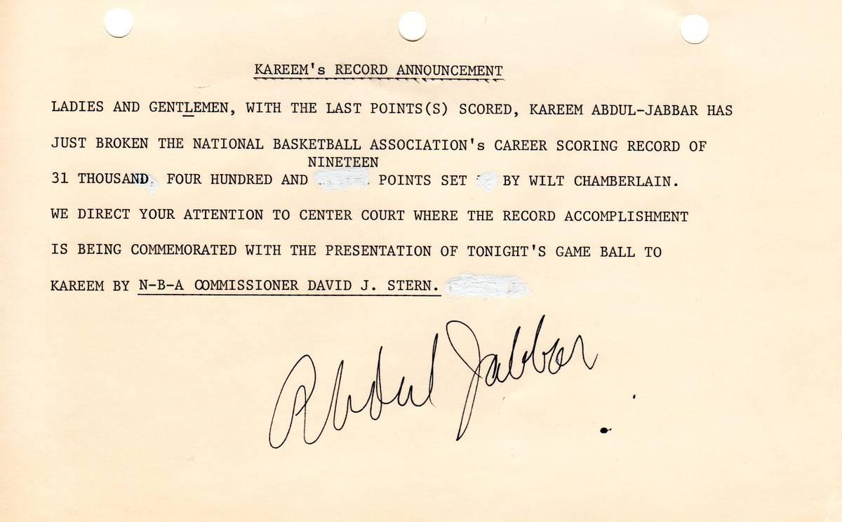 The official announcement of Kareem Abdul-Jabbar setting the NCAA career scoring mark as read b ...