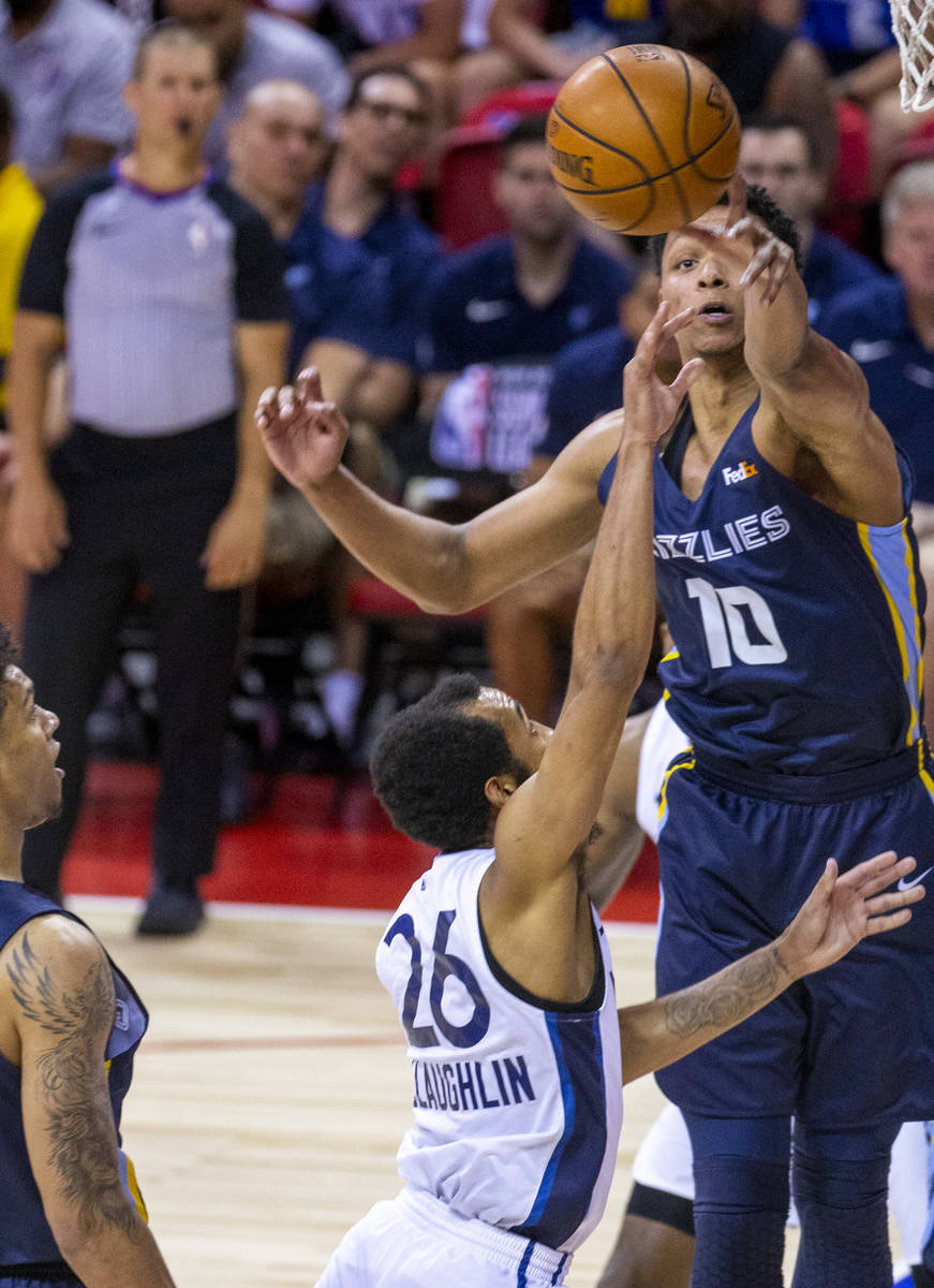Memphis Grizzlies forward Ivan Rabb, top, blocks a shot from Minnesota Timberwolves guard Jorda ...
