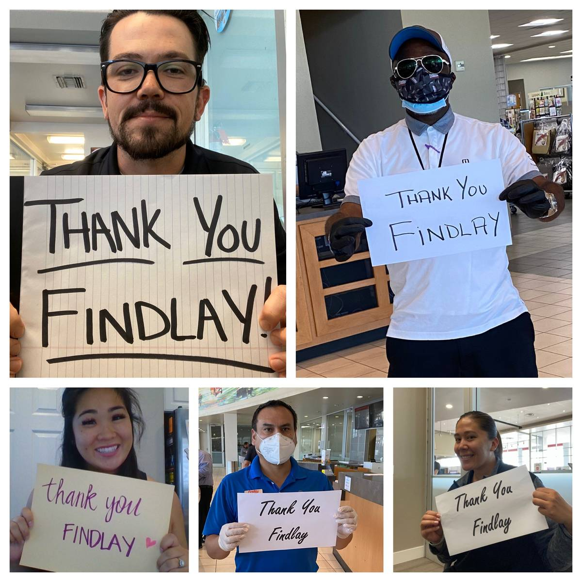 Findlay employees express their gratitude: clockwise from top left, Robert Schweizer Jr., pre-o ...