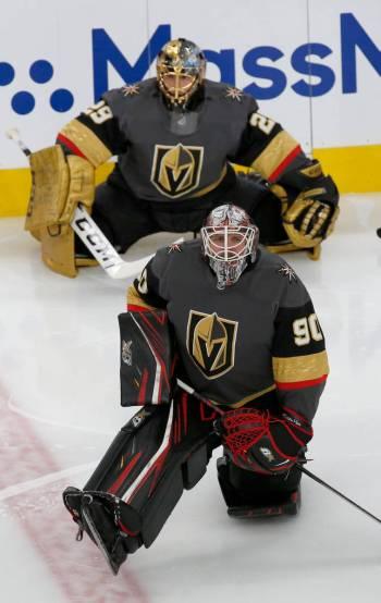 Vegas Golden Knights goaltender Robin Lehner (90) and Vegas Golden Knights goaltender Marc-Andr ...