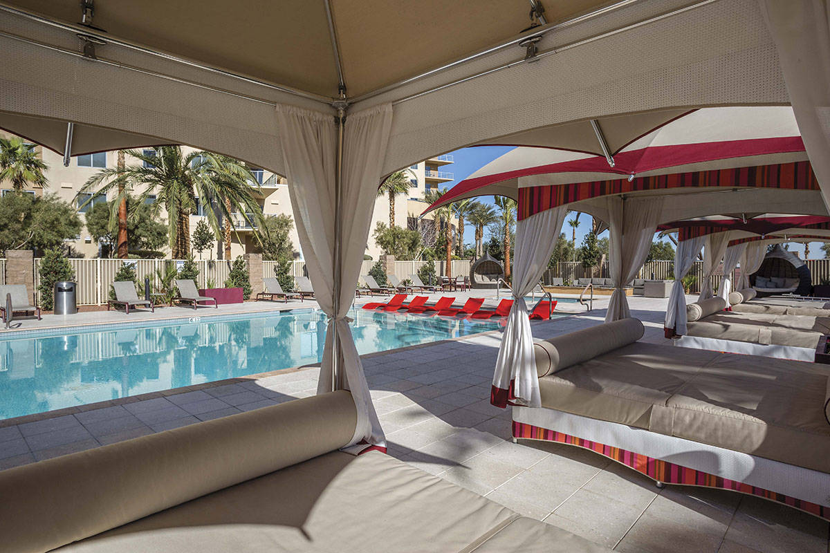 One Las Vegas high-rise features a pool area with cabanas. (One Las Vegas)