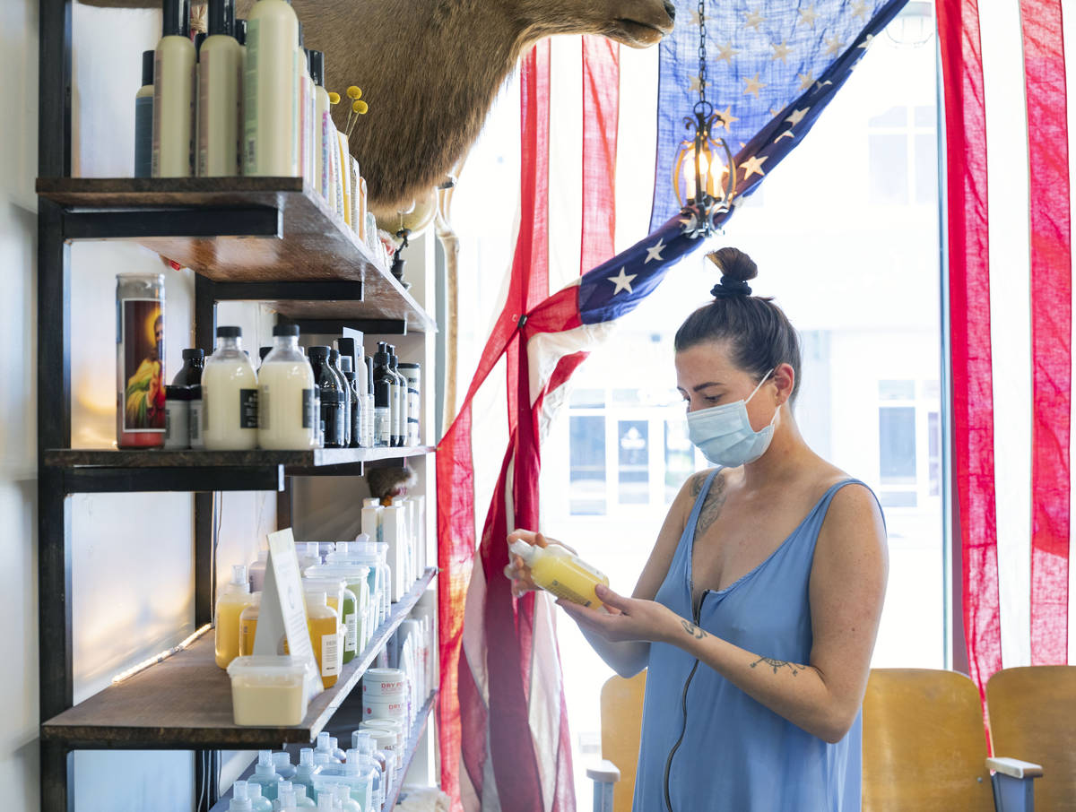 Barber Keller Leishman picks out her curbside pickup retail from Makeshift Union Cutting & ...