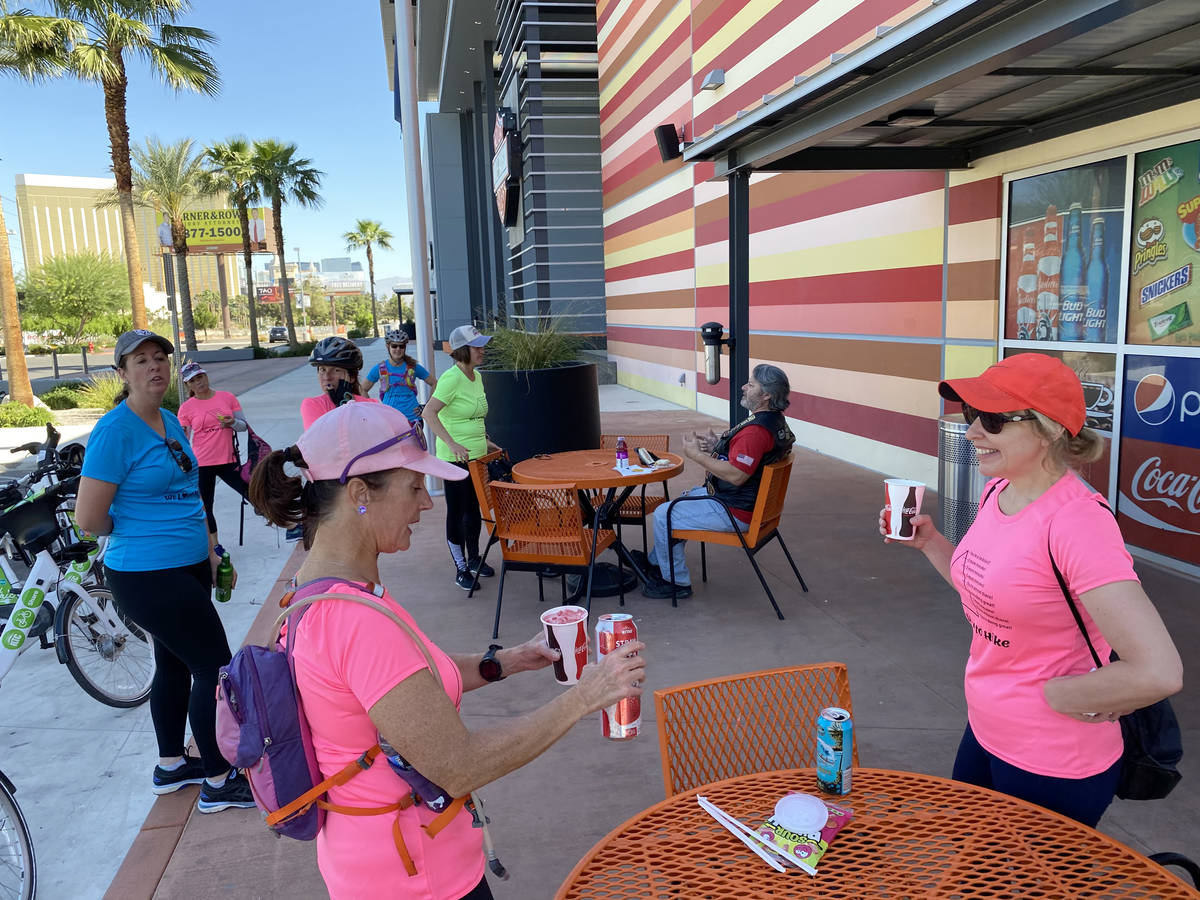 Members of the group We LOVE to HIKE, including Christy Beckwith, right, and Jennifer Gatti, ta ...