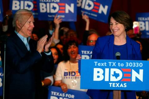 FILE - In this March 2, 2020 file photo, Sen. Amy Klobuchar, D-Minn., endorses Democratic presi ...