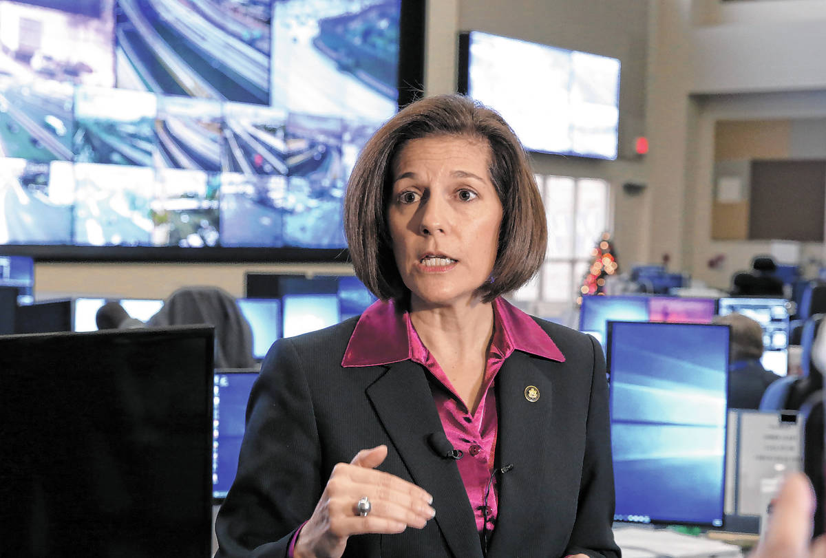 Sen. Catherine Cortez Masto, D-Nev., speaks on Tuesday, Nov. 21, 2017 at the FAST traffic manag ...