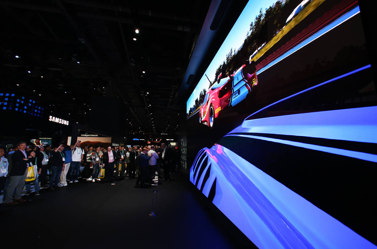 """""""The Wall,"""" size free 8K TV by Samsung, is displayed on Tuesday, Jan. 7, 2020 at the ..."""