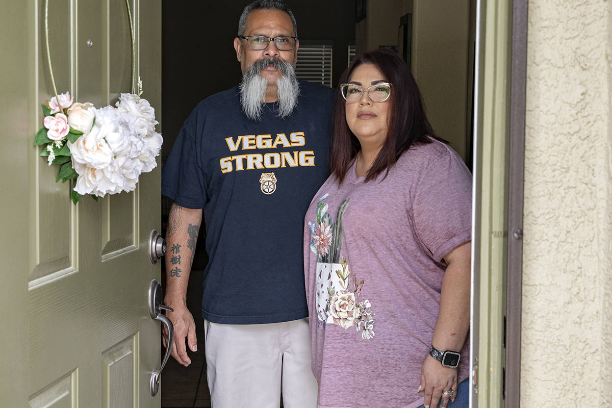 Brian and Monica Ursua are pictured in their home in North Las Vegas on Thursday, April 30, 202 ...