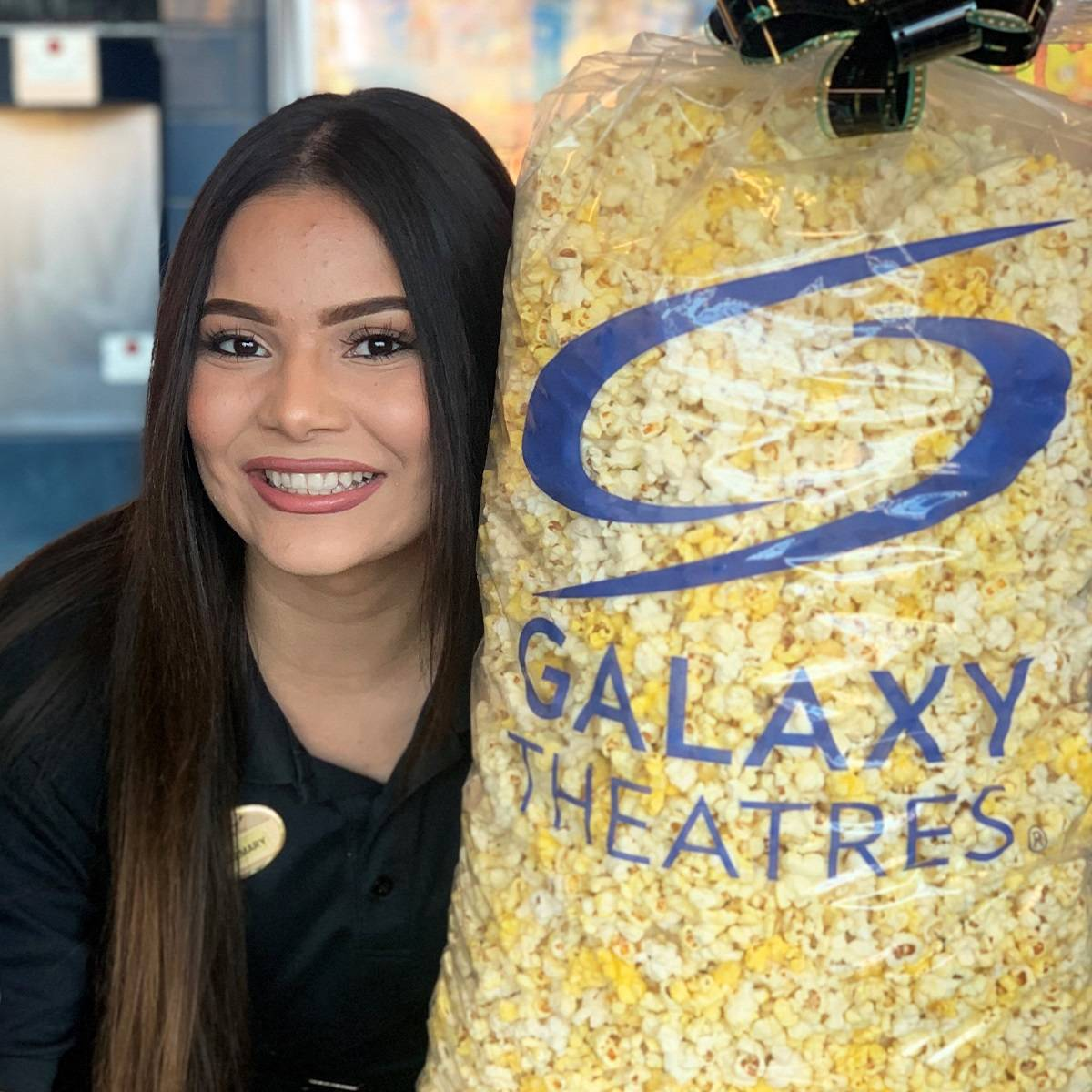 Galaxy's Giant Popcorn bag contains five gallons. (Galaxy Theatres)