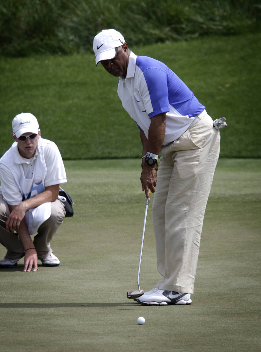 Ozzie Smith putts at the the Michael Jordan Celebrity Invitational at Shadow Creek Golf Course ...