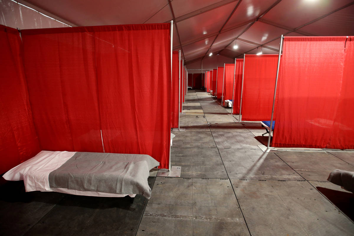 A medical tent for people who have tested positive for coronavirus is seen during a tour of the ...