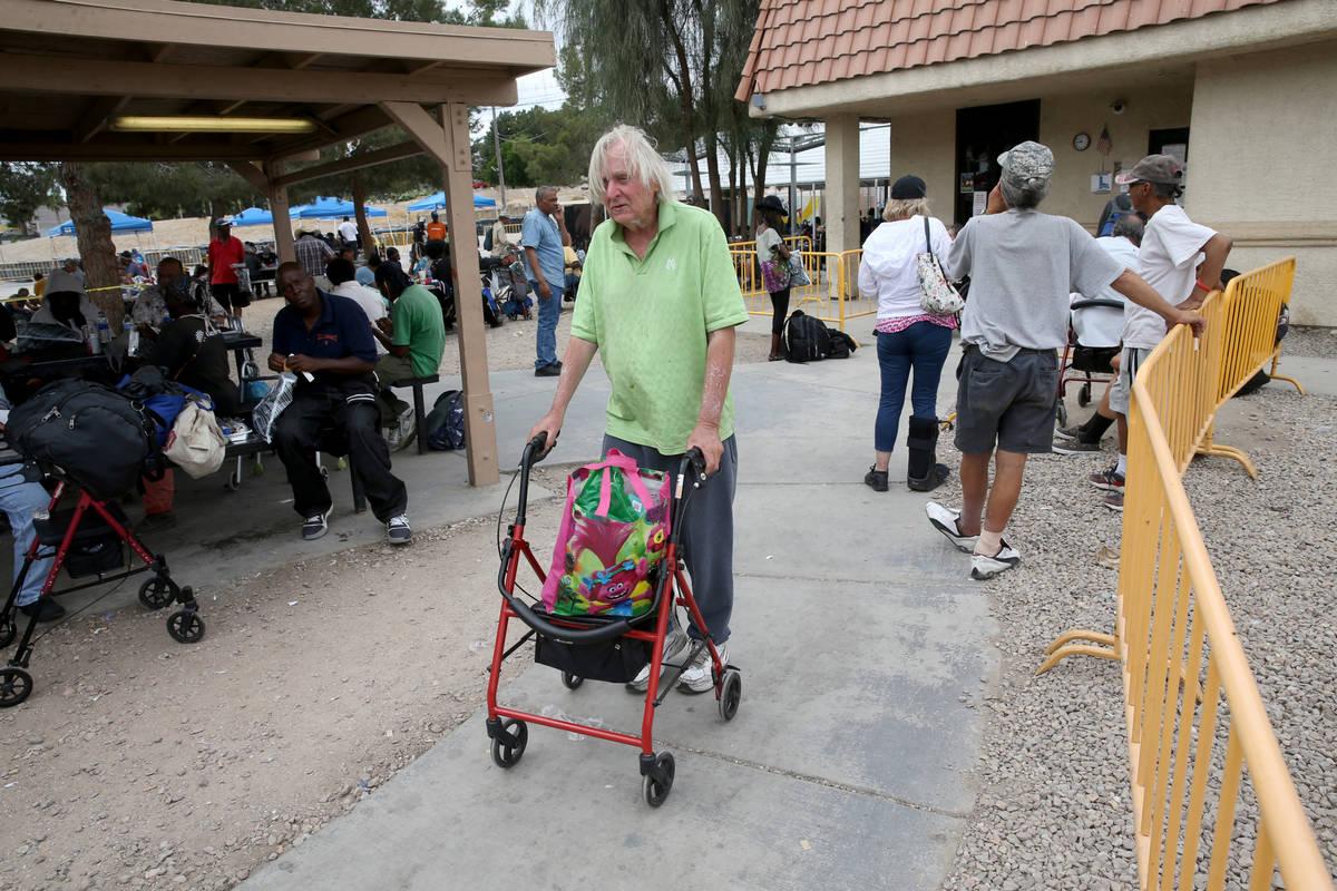 Robert Godleski, 73, at the Courtyard Homeless Resource Center in downtown Las Vegas Thursday, ...