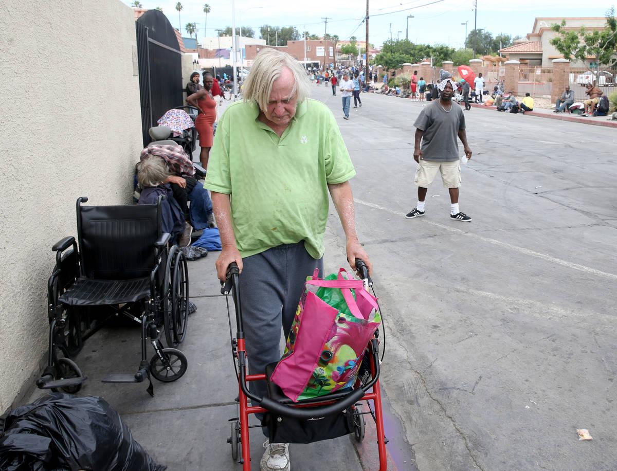 Robert Godleski, 73, makes his way down Foremaster Lane near Las Vegas Boulevard in downtown La ...
