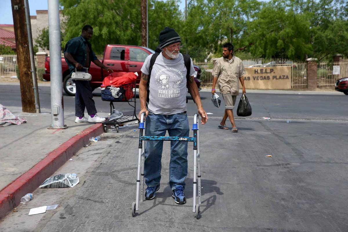 Juan Gonzalez, 67, on Foremaster Lane near Main Street in downtown Las Vegas Thursday, April 30 ...