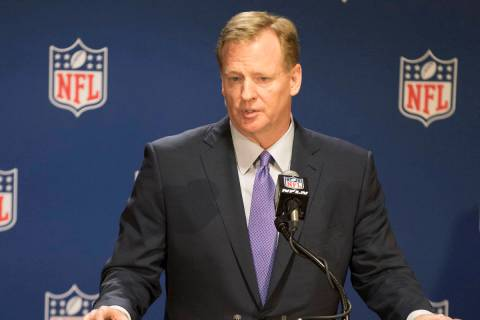 NFL commissioner Roger Goodell answers questions from the media at a news conference at the NFL ...