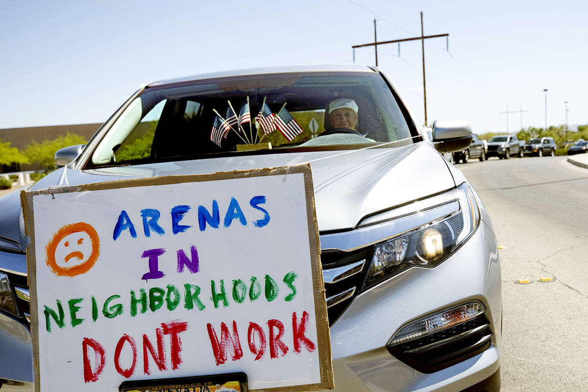 Gene Girard, who has lived in Green Valley since 1968, protests the building of a new hockey ar ...