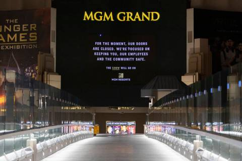 MGM Grand is closed amid coronavirus nonessential business closures on Thursday, April 9, 2020, ...