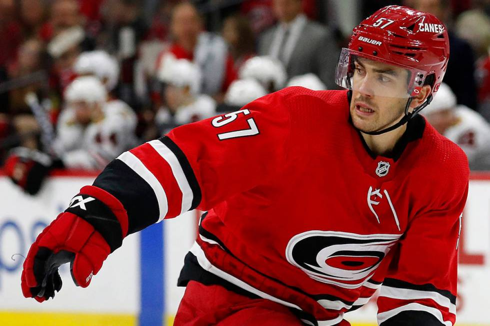 Defenseman Trevor van Riemsdyk was picked from Chicago and traded within a day to Carolina. (AP ...