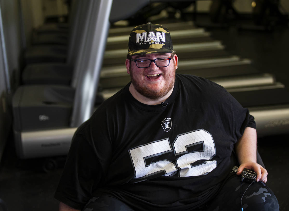 Paul Minor talks about his fitness goals at The Lift Factory in Las Vegas on Thursday, Feb. 27, ...