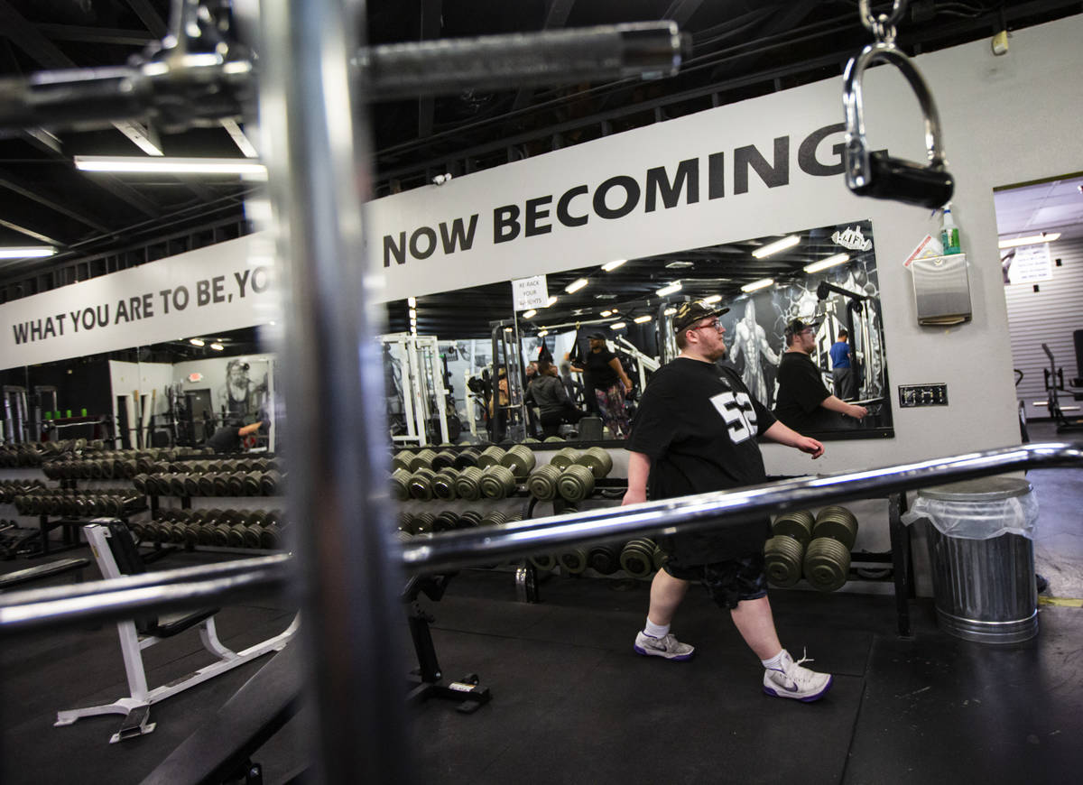 Paul Minor after a workout at The Lift Factory in Las Vegas on Thursday, Feb. 27, 2020. (Chase ...
