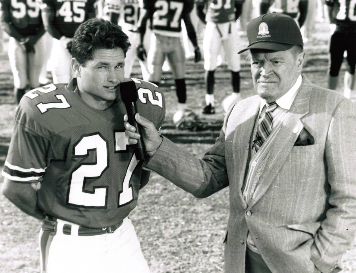All-American kicker Carlos Huerta is interviewed by Bob Hope during the former's college career ...