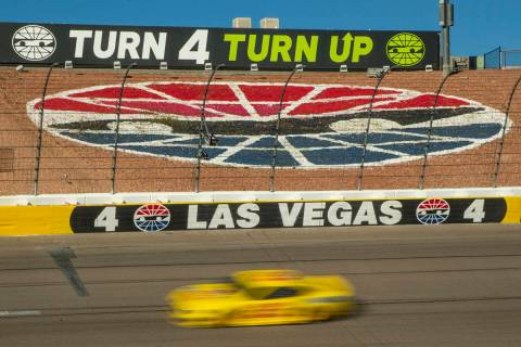 Joey Logano (22) cruises into turn four late in the race during the Pennzoil 400 presented by J ...