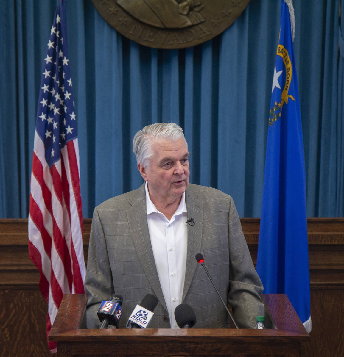 Gov. Steve Sisolak has faced increasing opposition to his closure orders with some charging he ...