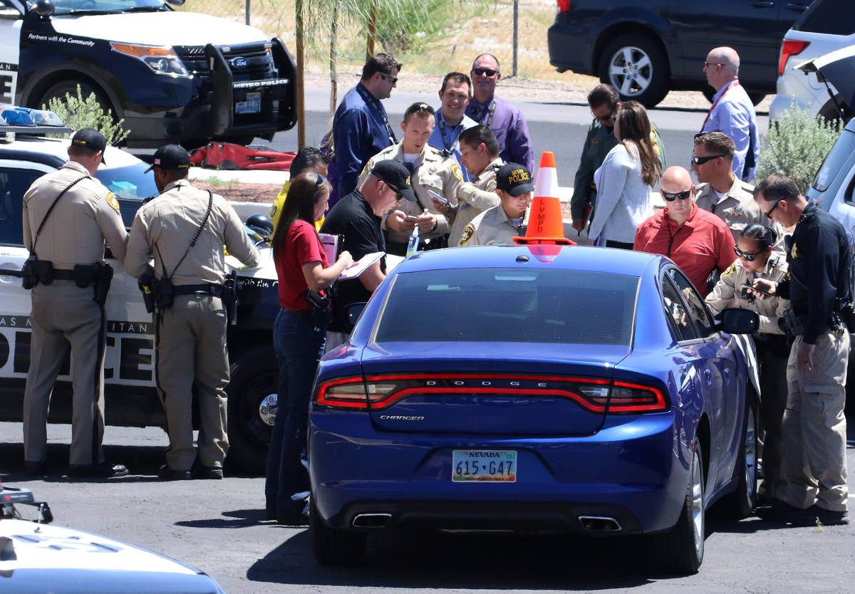 Las Vegas police are investigating an officer-involved shooting in the 3000 block of Sandhill R ...