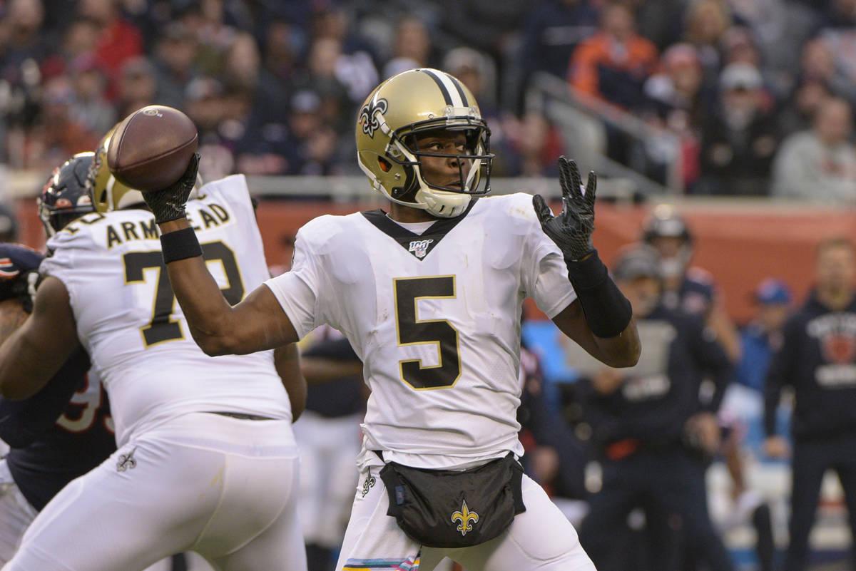 FILE - In this Sunday, Oct. 20, 2019 file photo, New Orleans Saints quarterback Teddy Bridgewat ...