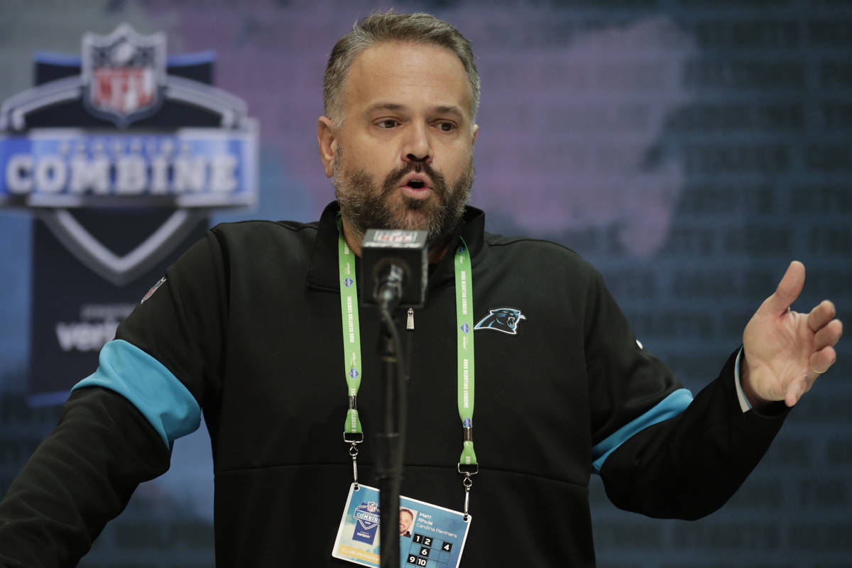 In this Feb. 25, 2020, file photo, Carolina Panthers head coach Matt Rhule speaks during a pres ...