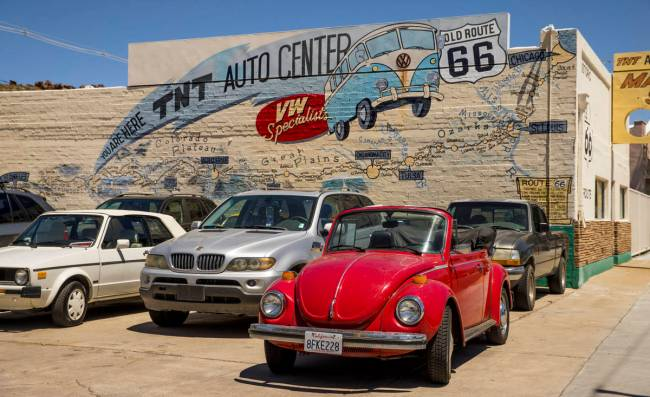 The TNT Auto Center along Route 66 has a full parking lot and business continues during the cor ...