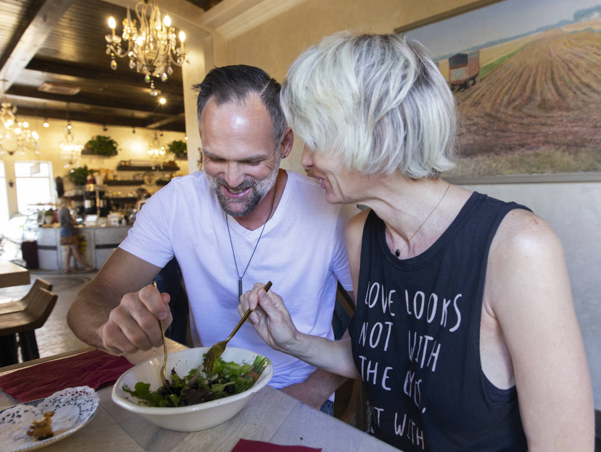 James and Echo Dalton share a salad at FeelLove Coffee on Tuesday, May 5, 2020, in St. George, ...