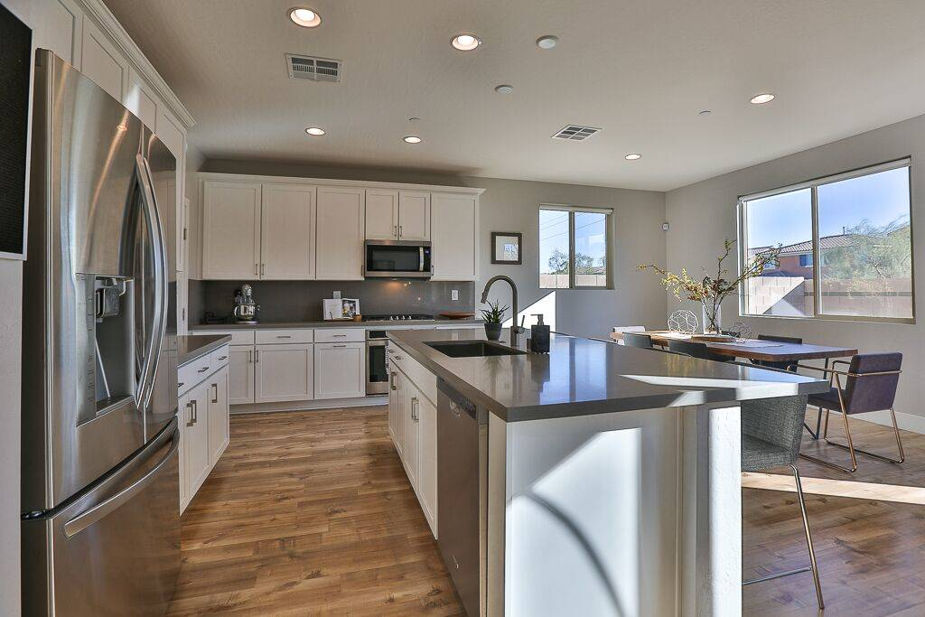 Las Vegas Aces forward Dearica Hamby's Inspirada home features a modern, sleek kitchen. (Life R ...
