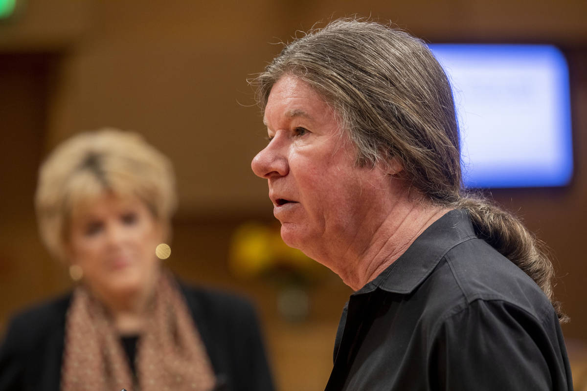 City Attorney for Las Vegas, Brad Jerbic delivers a public statement during a public meeting at ...