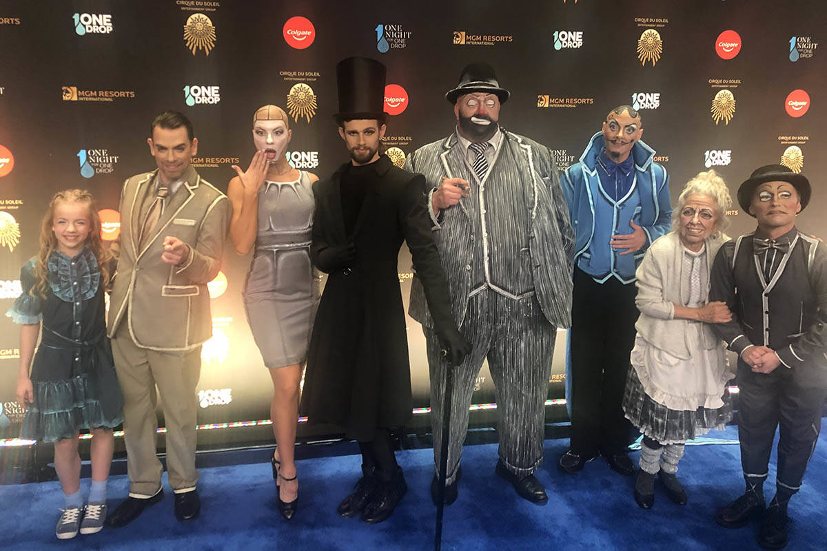 """Cirque artists are shown on the Blue Carpet prior to """"One Night For One Drop,"""" held at O Theate ..."""