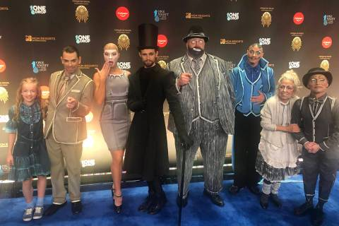 "Cirque artists are shown on the Blue Carpet prior to ""One Night For One Drop,"" held at O Theate ..."