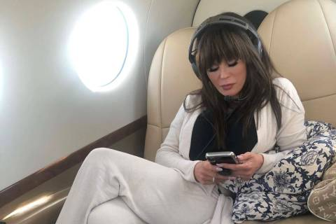 Marie Osmond is shown on her private plane on a trip back to Las Vegas from Los Angeles, where ...