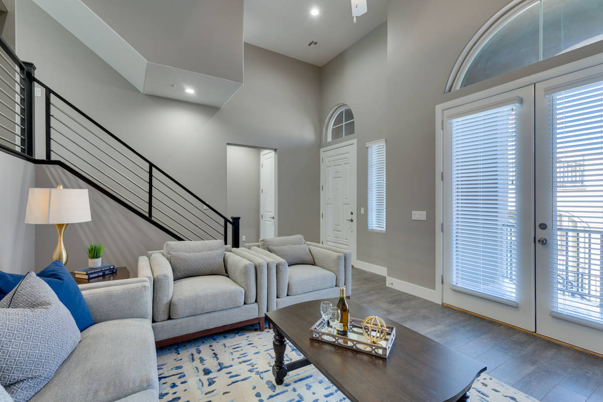 Vita Bella, a Lake Las Vegas' town home collection, has a living room off the entry. (Vita Bella)