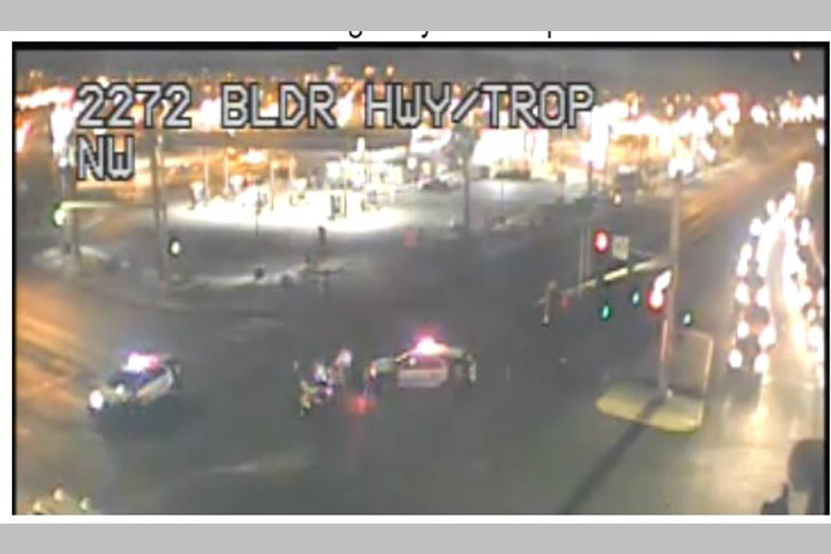 Police investigate a traffic accident Wednesday, May 6, 2020, at the intersection of Tropicana ...