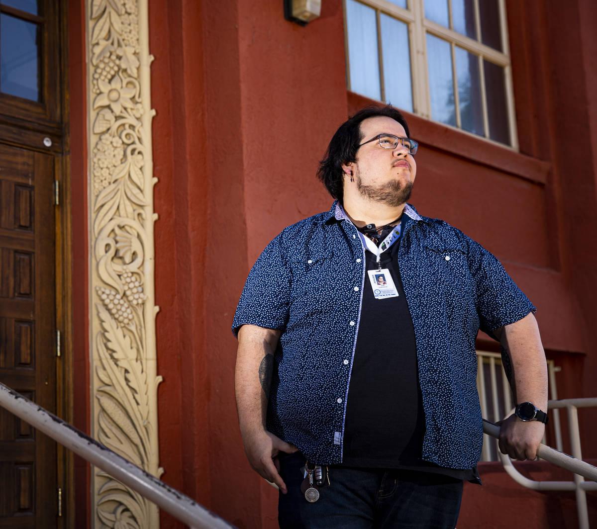 Teacher Juan Plascencia poses for a portrait outside of Las Vegas Academy in downtown Las Vegas ...