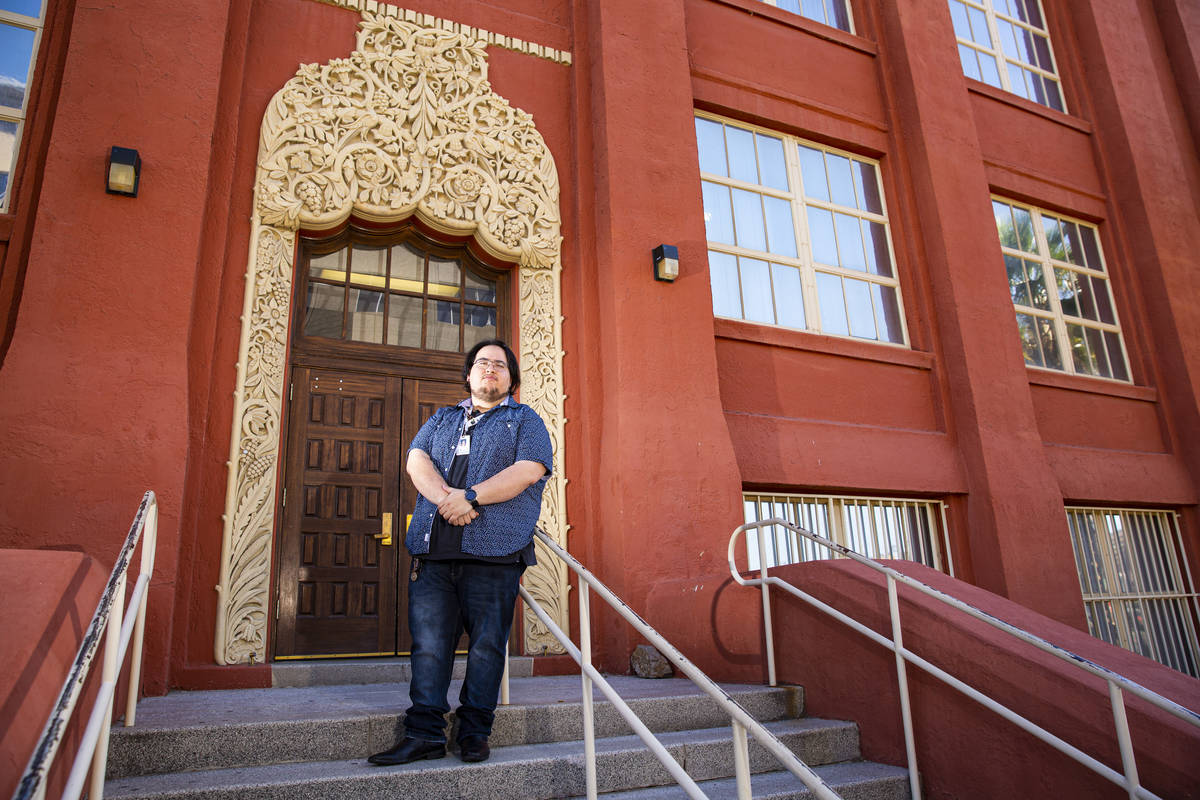 Teacher Juan Plascencia poses for a portrait outside of Las Vegas Academy in downtown Las Vegas ...