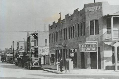 Photo of Hotel Nevada located at Main and Fremont streets, circa 1925. (Las Vegas Review-Journa ...