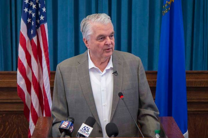 Gov. Steve Sisolak speaks during a press conference, April 30, 2020, in Carson City. (Colton Lo ...