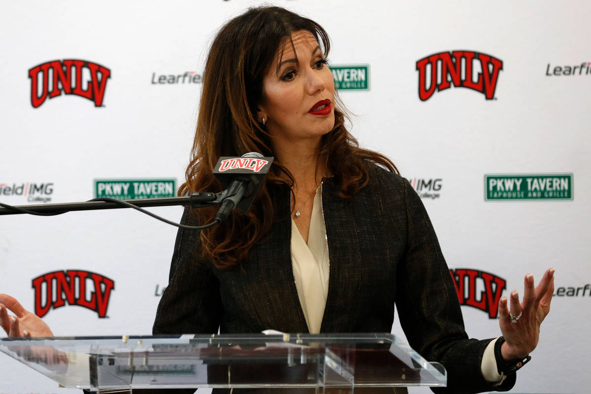 UNLV Director of Athletics Desiree Reed-Francois speaks during a news conference at UNLV in Las ...